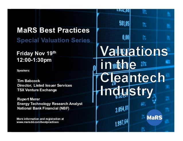 MaRS Best Practices: Valuations in the cleantech Industry - Rupert Merer
