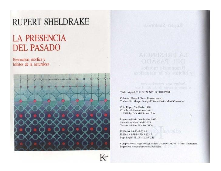 """La presencia del pasado """"Los campos de las sociedades y culturas humanas"""" de Rupert Sheldrake."""