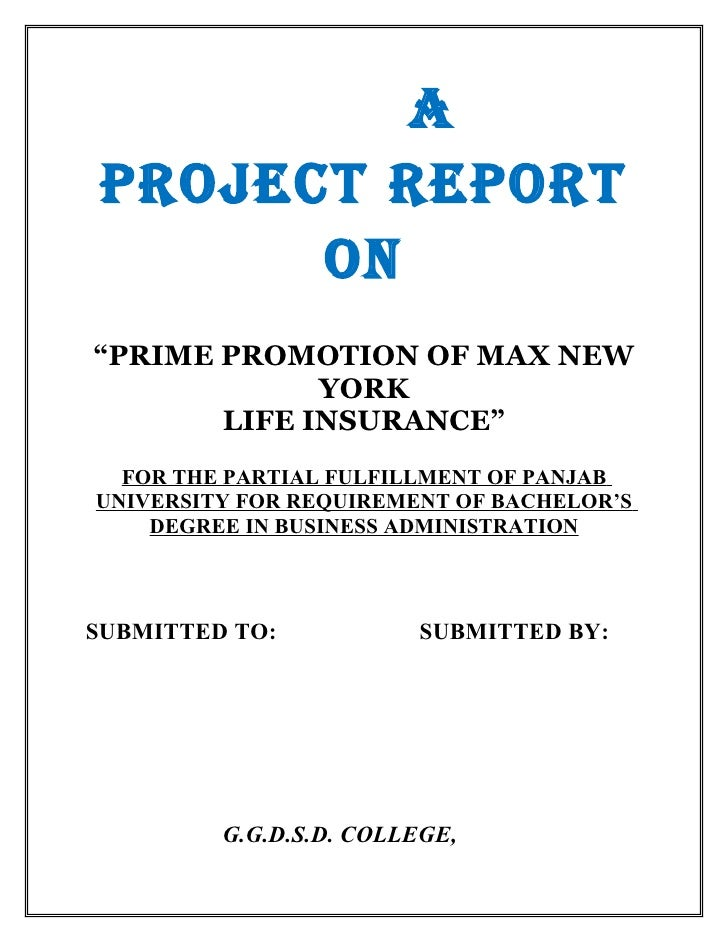 "APROJECT REPORT      ON""PRIME PROMOTION OF MAX NEW             YORK       LIFE INSURANCE""  FOR THE PARTIAL FULFILLMENT OF ..."