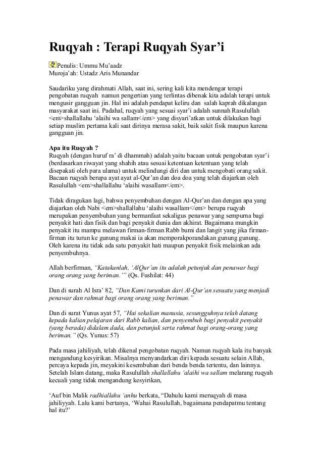Ruqyah : Terapi Ruqyah Syar'i  Penulis: Ummu Mu'aadzMuroja'ah: Ustadz Aris MunandarSaudariku yang dirahmati Allah, saat in...