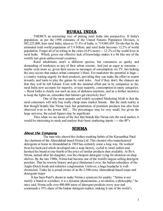RURAL INDIA        THERES an interesting way of putting rural India into perspective. If Indiaspopulation, as per the 1998...