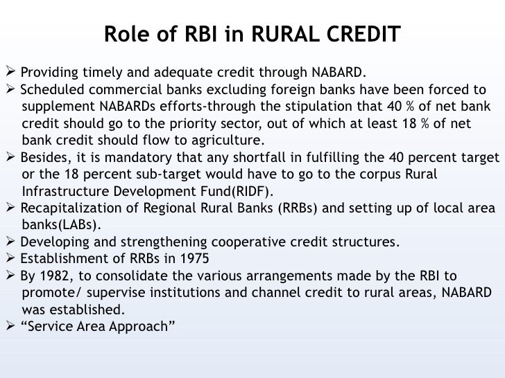 essay on role of banks in rural development in india Role of banks in agriculture & rural development i n the last few years statistical tables relating to banks in india (rbi) year farmer deposits.