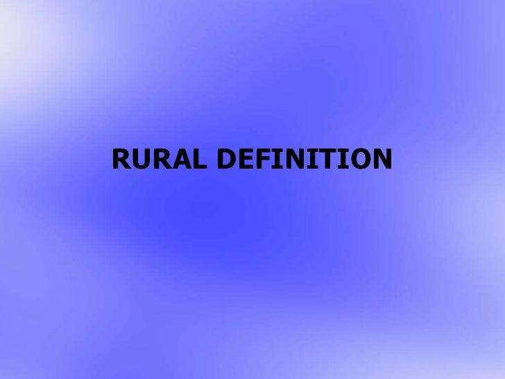 Rural definition