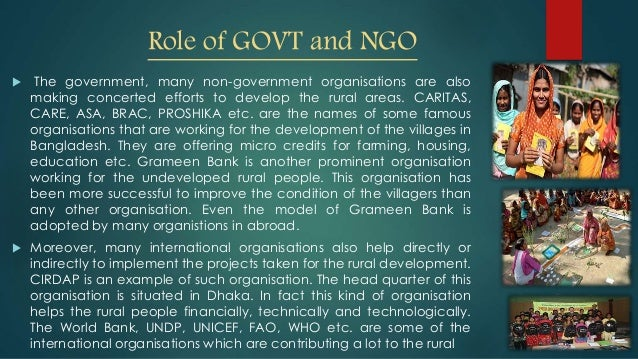 role of ngos in bangladesh Ngos like brac in bangladesh are as familiar to us as the united way  the  roles that ngos currently play in improving human development and protecting.