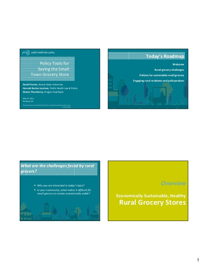 Policy Tools for Saving the Small Town Grocery Store - PowerPoint Presentation