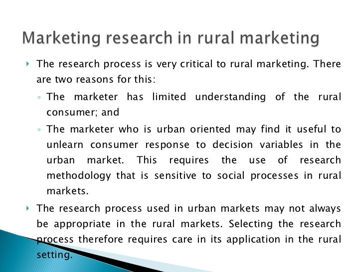 rural marketing research papers Rural consumers are fundamentally different from their urban counterparts  and  society, rural market research must overcome the challenge of respondents.