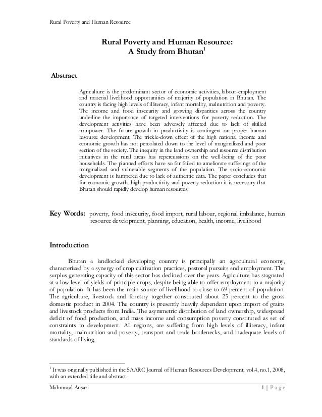 Rural Poverty and Human Resource  Rural Poverty and Human Resource: A Study from Bhutan1 Abstract Agriculture is the predo...