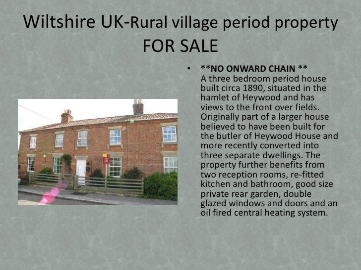 Wiltshire UK-Rural village period property FOR SALE<br />**NO ONWARD CHAIN **A three bedroom period house built circa 1890...