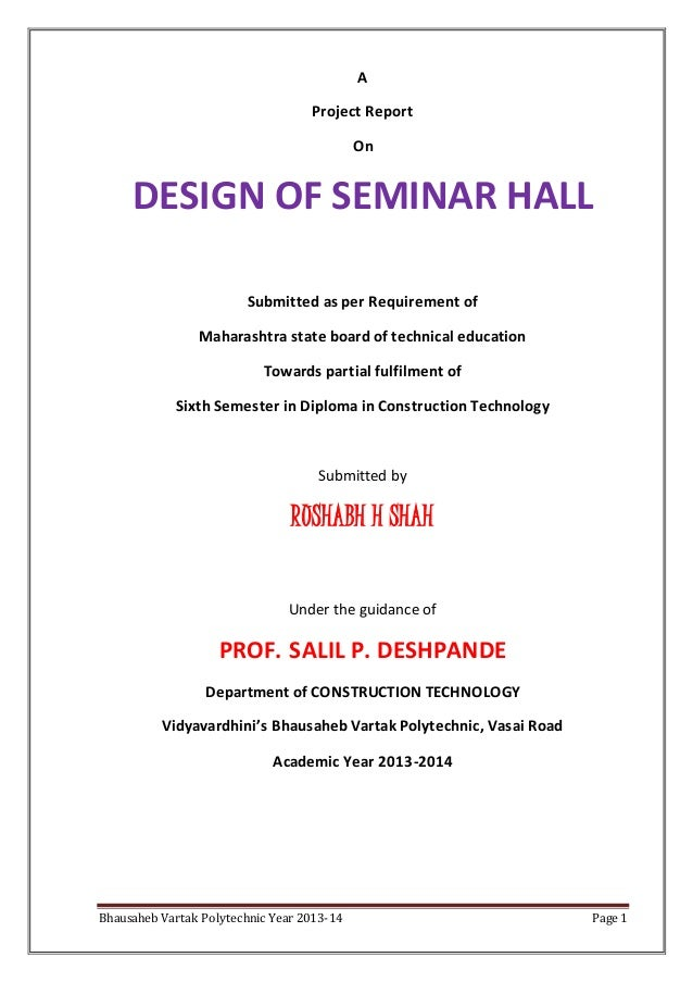 Design of seminar hall project document for Assignment front page decoration