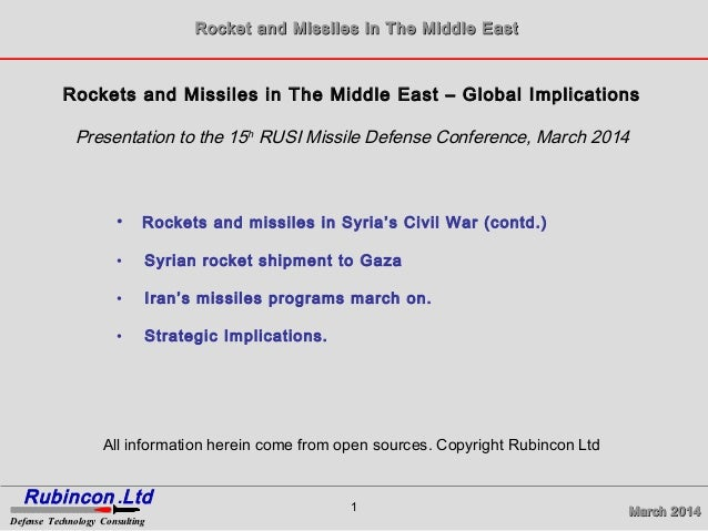 March 2014March 2014 Rocket and Missiles in The Middle EastRocket and Missiles in The Middle East Rubincon Ltd. Defense Te...