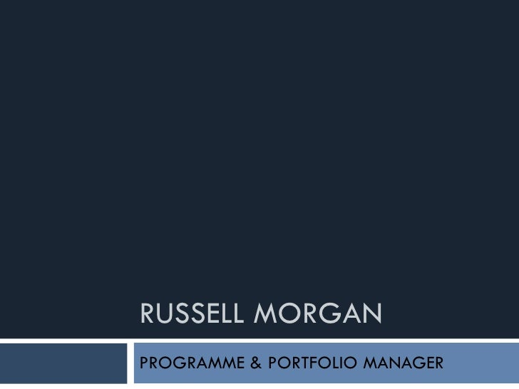 RUSSELL MORGAN PROGRAMME & PORTFOLIO MANAGER