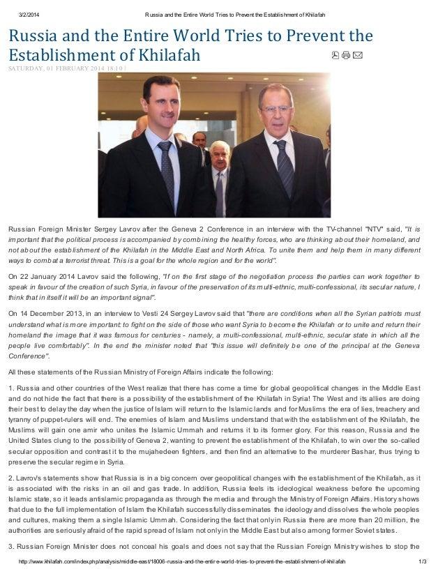 3/2/2014  Russia and the Entire World Tries to Prevent the Establishment of Khilafah  RussiaandtheEntireWorldTriesto...