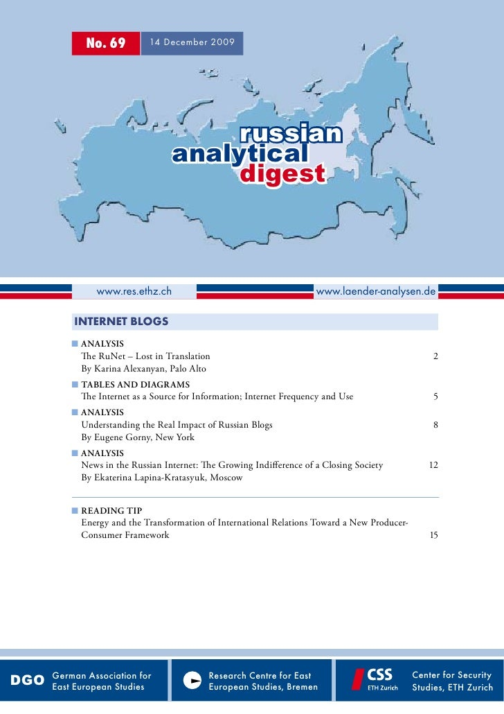 Russian Analytical Digest 69 - Blogging and Russian Politics
