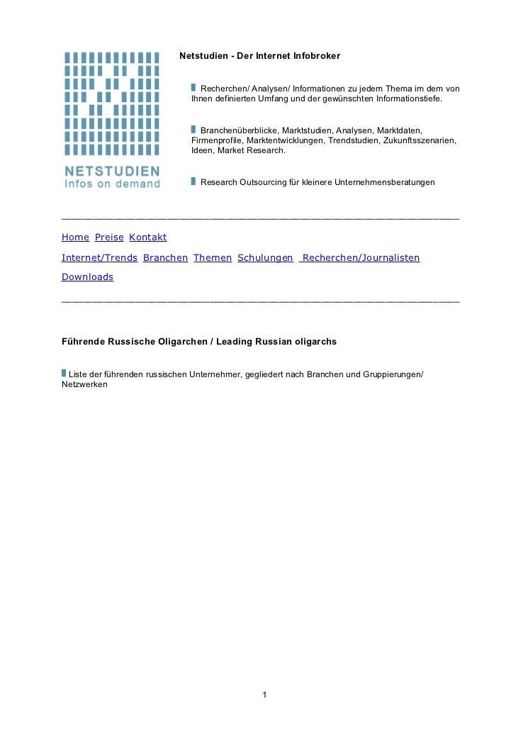 Netstudien - Der Internet Infobroker                                 Recherchen/ Analysen/ Informationen zu jedem Thema im...