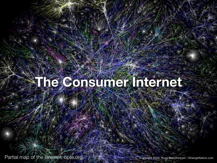 The Consumer Internet     Partial map of the Internet, opte.org   Copyright 2009, Russ Maschmeyer / StrangeNative.com