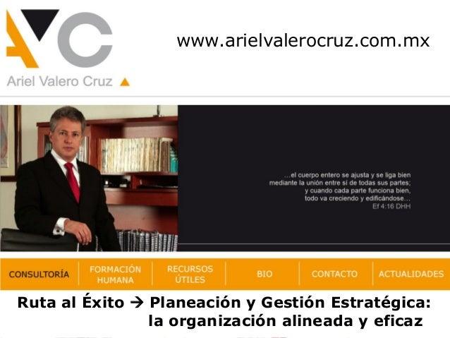 www.arielvalerocruz.com.mx Ruta al Éxito  Planeación y Gestión Estratégica: la organización alineada y eficaz
