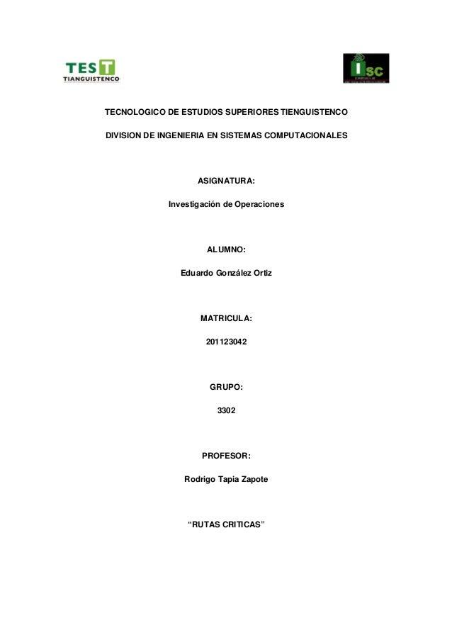 TECNOLOGICO DE ESTUDIOS SUPERIORES TIENGUISTENCODIVISION DE INGENIERIA EN SISTEMAS COMPUTACIONALES                    ASIG...