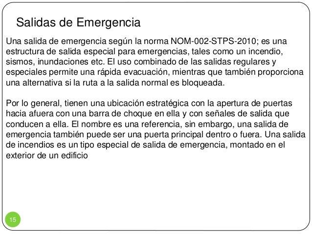 Salidas de Emergencia Norma Salidas de Emergencia Una