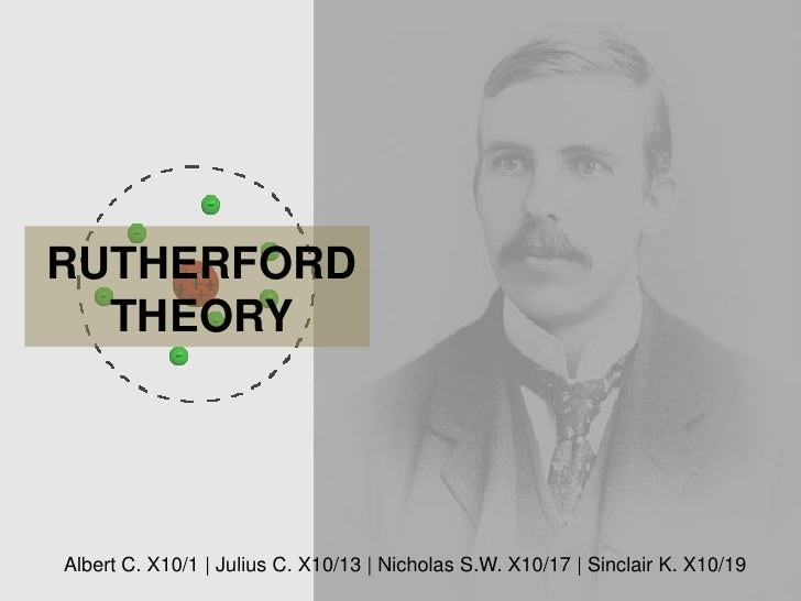 RUTHERFORD  THEORYAlbert C. X10/1 | Julius C. X10/13 | Nicholas S.W. X10/17 | Sinclair K. X10/19