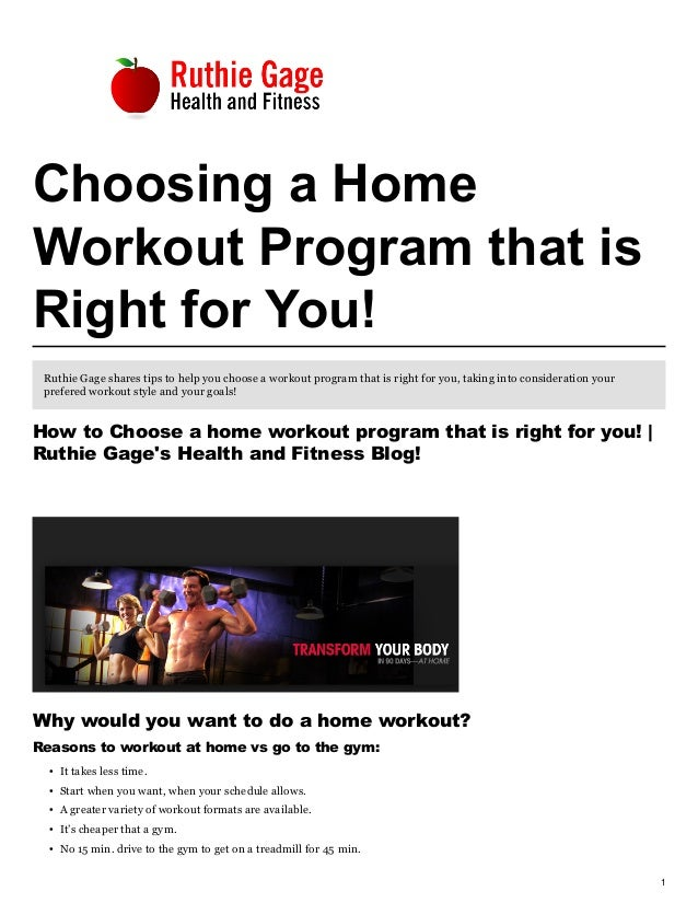 How to choose a home workout program that is right for you!