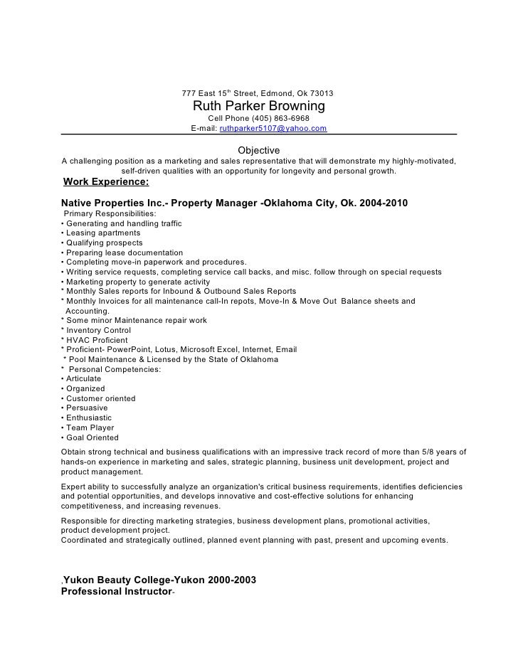 property management resume