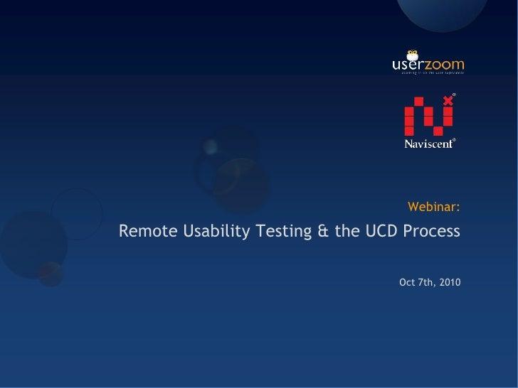 Remote usability testing & the UCD Process webinar