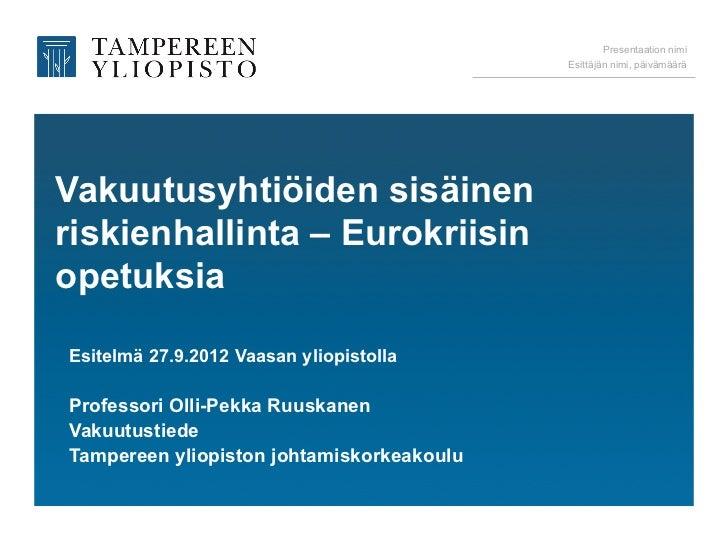 Vakuutusyhtiöt ja eurokriisi