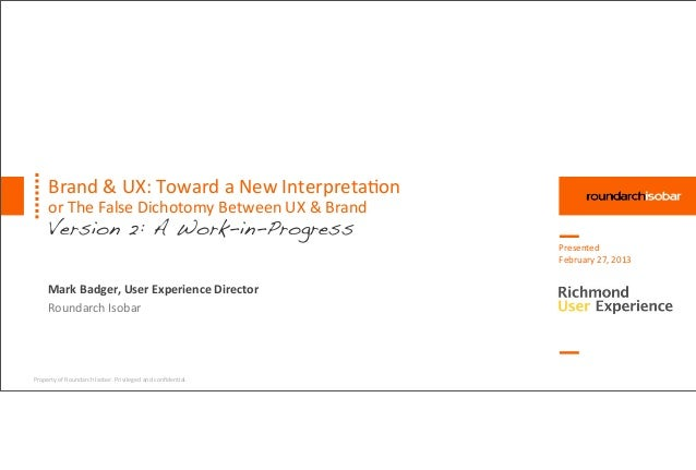 Brand & UX: Toward a New Interpretation (Version 2)