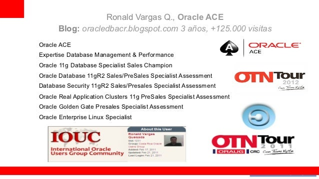 Ronald Vargas Q., Oracle ACE       Blog: oracledbacr.blogspot.com 3 años, +125.000 visitasOracle ACEExpertise Database Man...