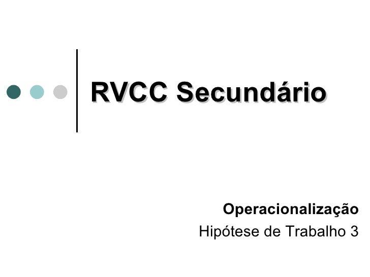 RVCC Secundário Operacionalização Hipótese de Trabalho 3