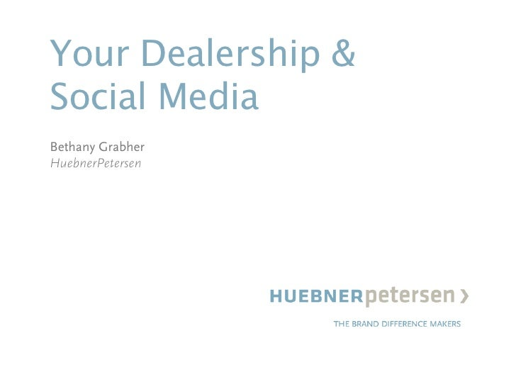 Your Dealership & Social Media Bethany Grabher HuebnerPetersen