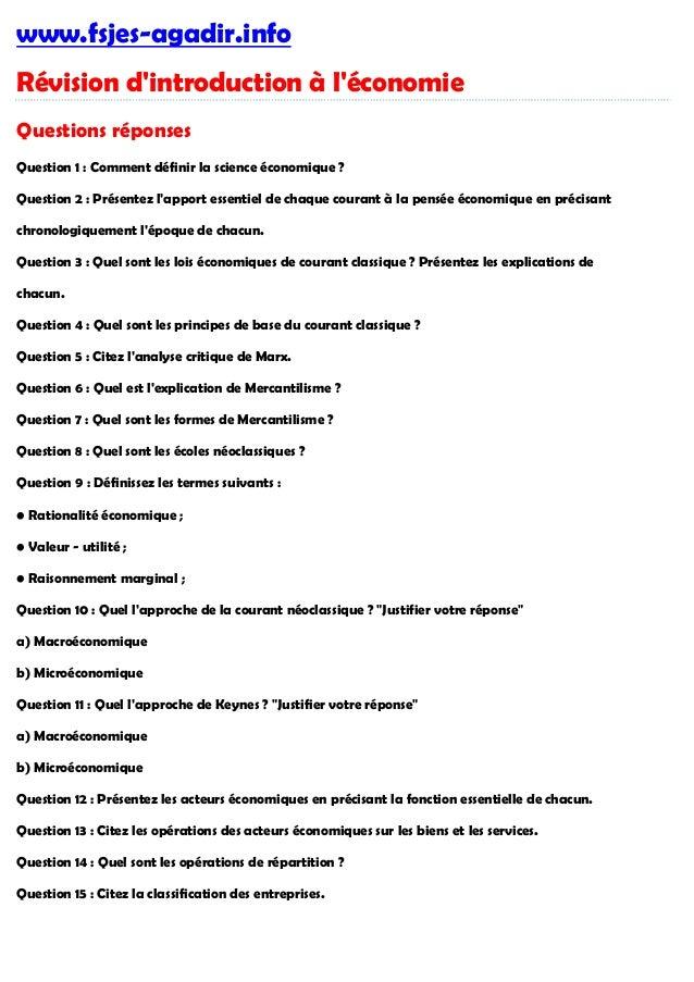 www.fsjes-agadir.info Révision d'introduction à l'économie Questions réponses Question 1 : Comment définir la science écon...