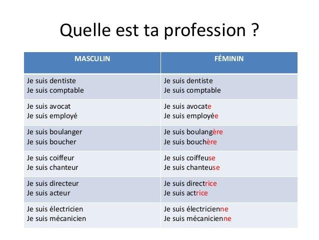 Quelle est ta profession ? MASCULIN  FÉMININ  Je suis dentiste Je suis comptable  Je suis dentiste Je suis comptable  Je s...