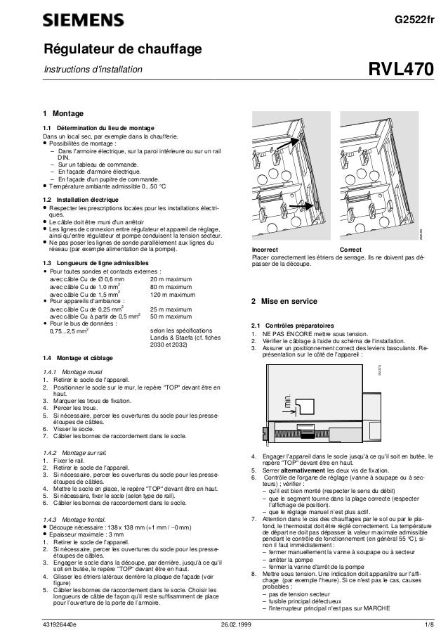 431926440e 26.02.1999 1/8 G2522fr Régulateur de chauffage Instructions d'installation RVL470 1 Montage 1.1 Détermination d...