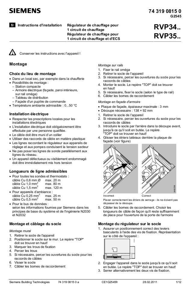 74 319 0815 0 G2545 fr  Instructions d'installation  RVP34.. RVP35..  Régulateur de chauffage pour 1 circuit de chauffage ...