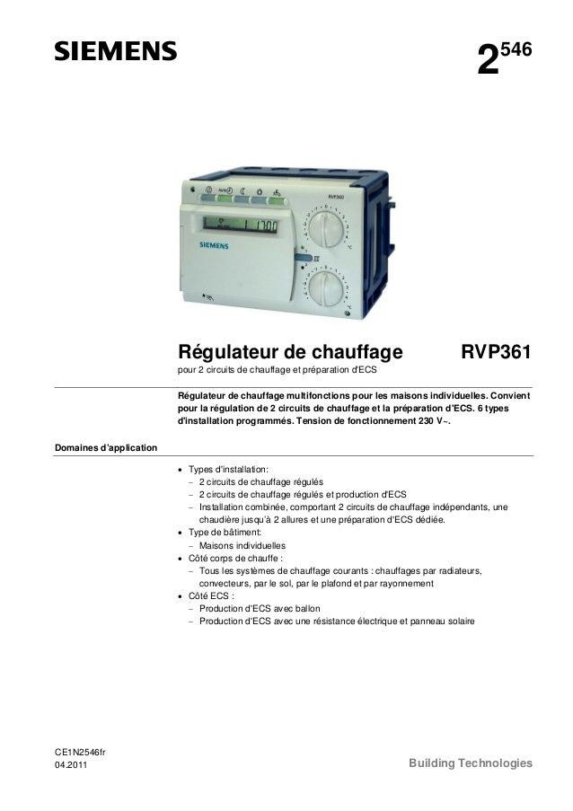2  Régulateur de chauffage  546  RVP361  pour 2 circuits de chauffage et préparation d'ECS Régulateur de chauffage multifo...
