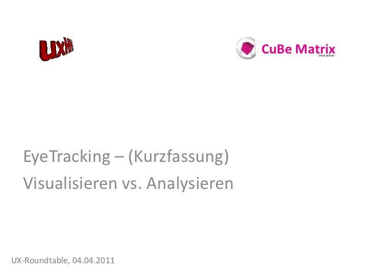 CuBe Matrix                                          interactive  EyeTracking – (Kurzfassung)  Visualisieren vs. Analysier...