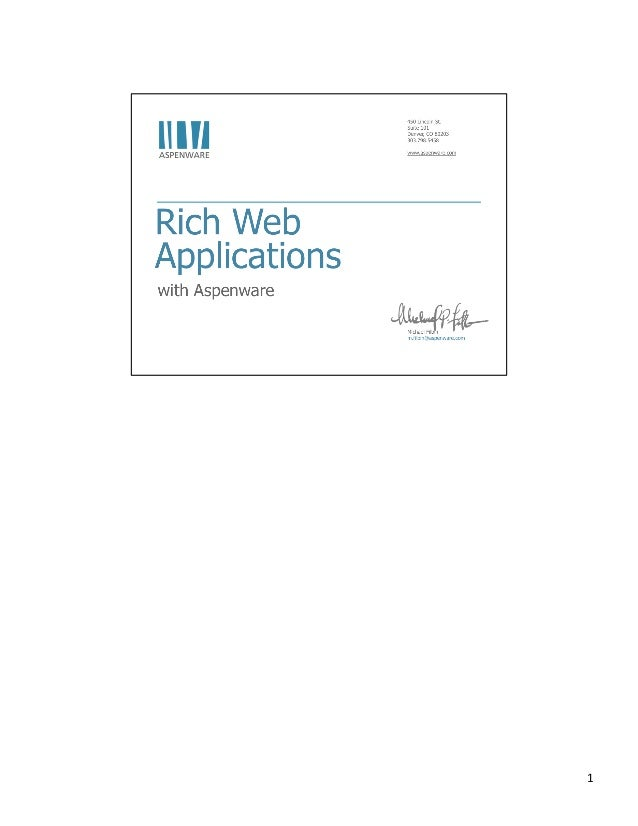 Rich Web Applications with Aspenware