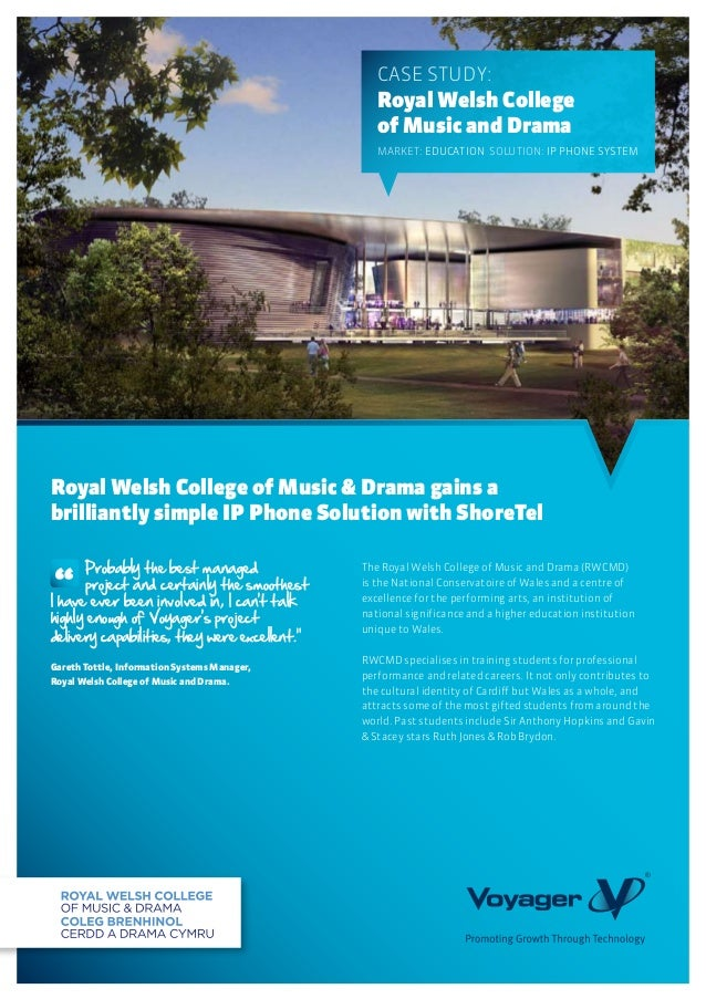 The Royal Welsh College of Music and Drama (RWCMD)is the National Conservatoire of Wales and a centre ofexcellence for the...