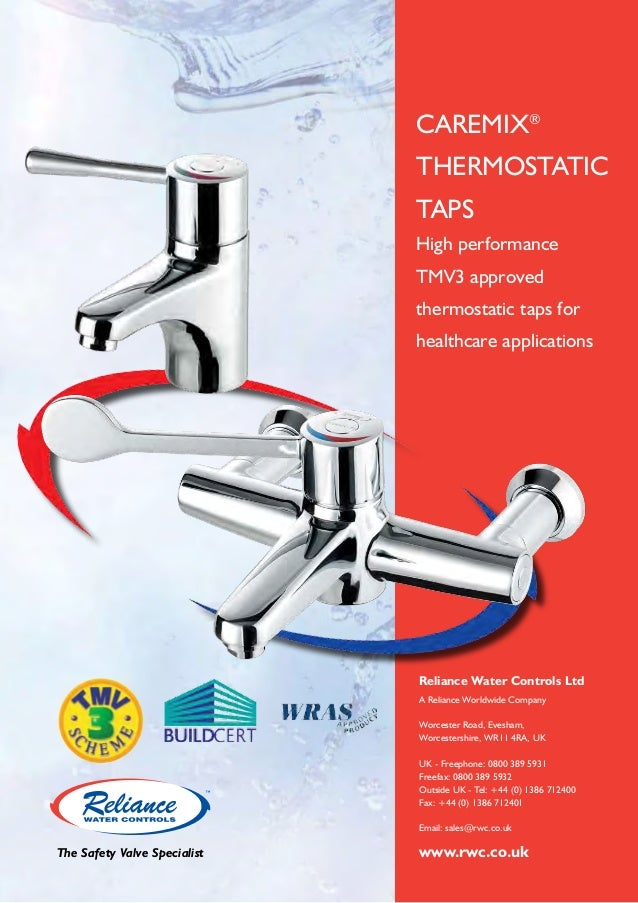 CAREMIX® THERMOSTATIC TAPS High performance TMV3 approved thermostatic taps for healthcare applications  Reliance Water Co...