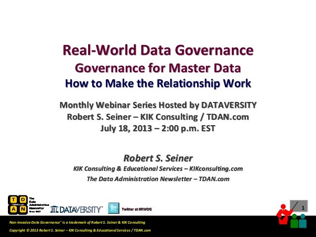 Real-World Data Governance Webinar: Governance for Master Data