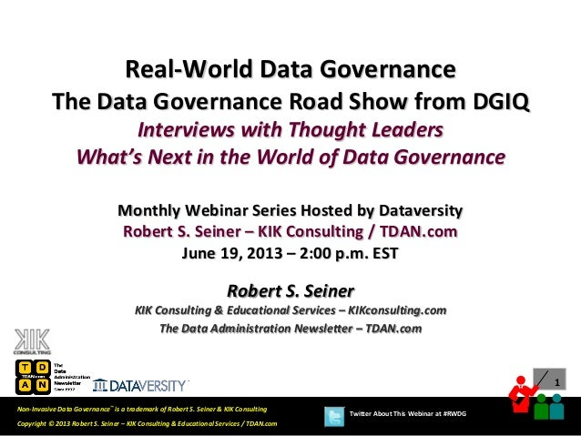 Real-World Data Governance: The Data Governance Road Show from DGIQ – Interviews with Thought Leaders