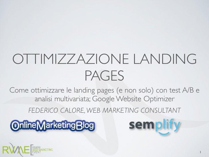 Ottimizzazione delle landing pages con l'analisi multivariata