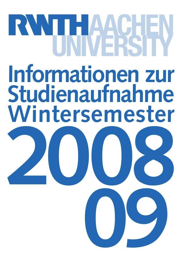 Informationen zur Studienaufnahme Wintersemester 2008 09