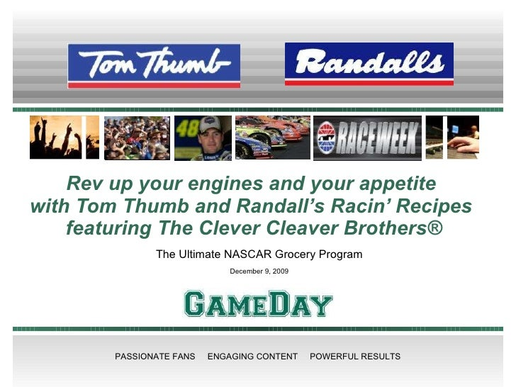 Rev up your engines and your appetite  with Tom Thumb and Randall's Racin' Recipes  featuring The Clever Cleaver Brothers®...