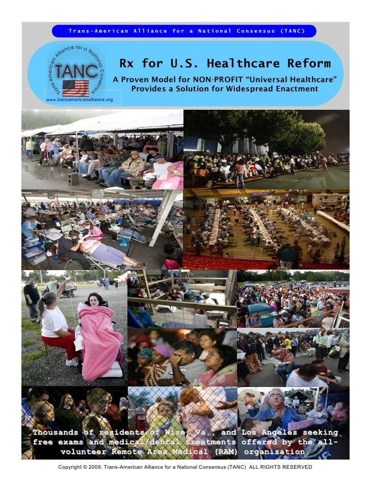 """""""Rx for U.S. Healthcare Reform"""" - A Position Paper from TANC"""