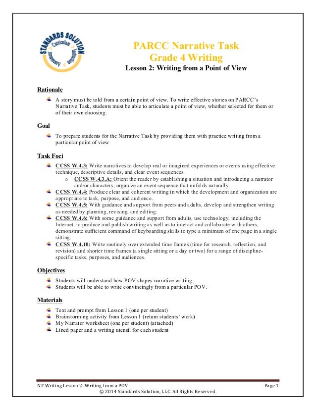 narrative essay lesson plan middle school