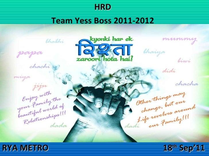 HRD Team Yess Boss 2011-2012 RYA METRO   18 th  Sep'11