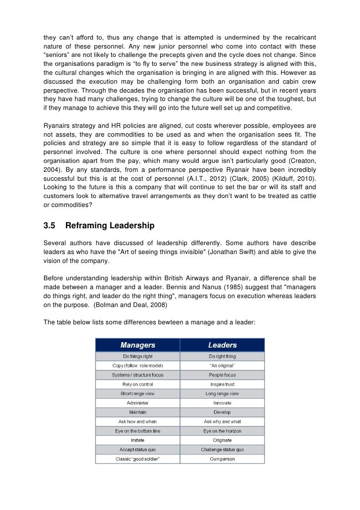 british airways ryanair essay This report clearly states ryanair's long term vision by using different business  models  british was the main airline in europe until the arrival of low cost airline.