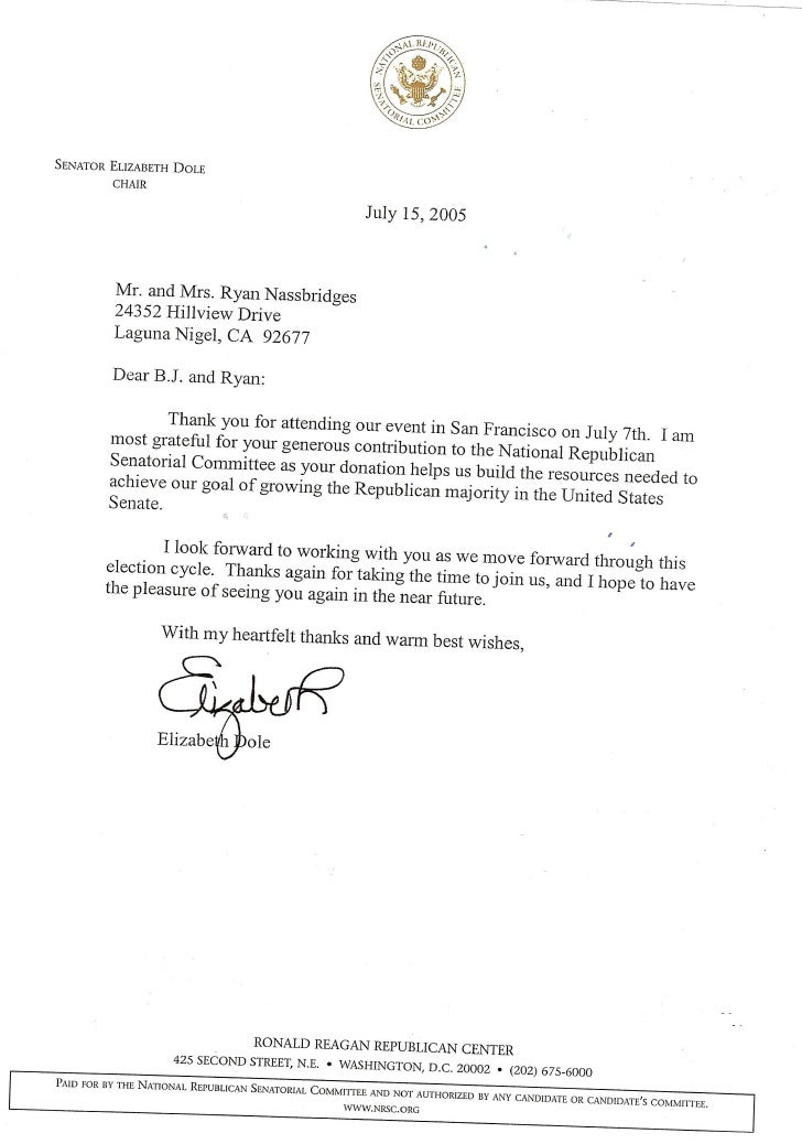 Ryan A Nassbridges receives Thank You Letter from Senator Elizabeth Dole